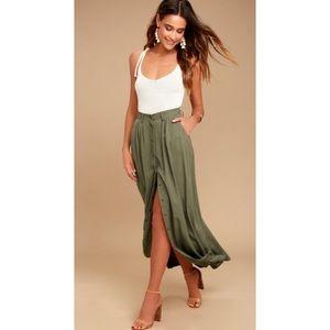 Lulu's My Squad Olive Green Maxi Skirt
